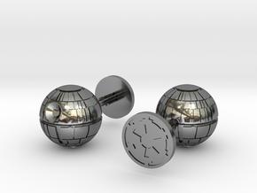 Death Star Cufflinks in Fine Detail Polished Silver
