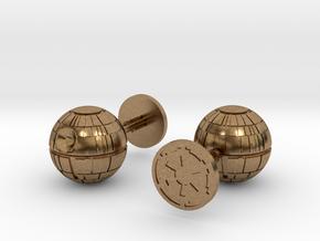 Death Star Cufflinks in Natural Brass