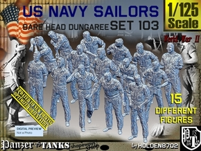 1/125 USN Dungaree Barehead Set103 in Smooth Fine Detail Plastic
