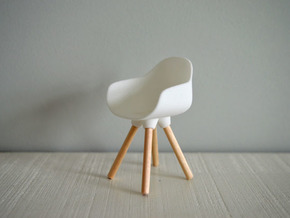 1:12 Chair v3 wooden legs 2 in White Natural Versatile Plastic