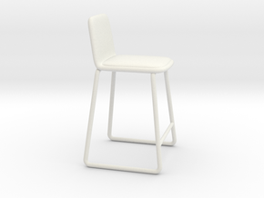 Miniature Paone Bar Stool - Paone Architecture in White Natural Versatile Plastic: 1:12