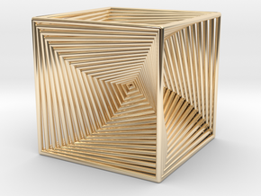 0045 Cube Line Design (3.25 cm) #001 in 14K Yellow Gold