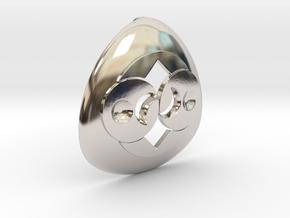 Alien Roswell Rock or Crop Circle Geometry in Rhodium Plated Brass: Medium