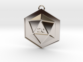 D20 Keychain or Necklace Pendant in Platinum