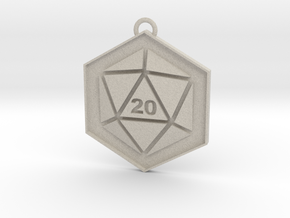D20 Keychain or Necklace Pendant in Natural Sandstone