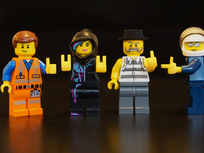 4 Custom Hands for Lego - Left set in Yellow Processed Versatile Plastic