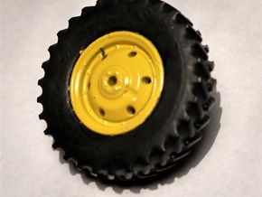 "1/64 Scale 42"" Green & Yellow Rear Wheels & Tires in Smooth Fine Detail Plastic"