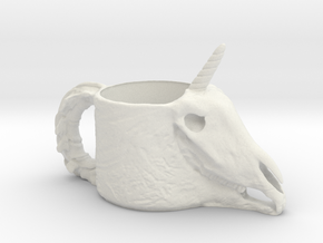 Unicorn Skull Cup in White Natural Versatile Plastic