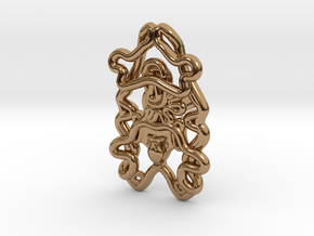 Sea Cucumber Larva Lapel Pin in Polished Brass