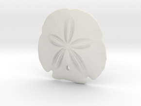 Arrowhead Sand Dollar Pendant in White Natural Versatile Plastic