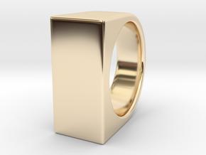 Signe Unique V - US 9 - Signet Ring in 14k Gold Plated Brass