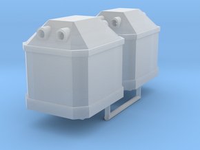Two TT scale, waste glass containers in Smooth Fine Detail Plastic