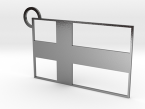 Finland Flag Keychain in Polished Silver