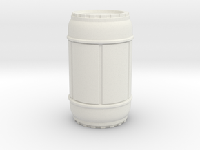 SciFi Barrel 50mm tall, 1/24 scale in White Premium Versatile Plastic