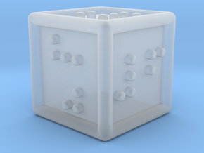 Braille Six-sided Die d6 in Smooth Fine Detail Plastic