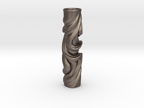Vase 078Totem in Polished Bronzed Silver Steel