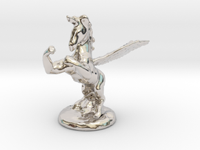 Wada Fu , The Flying Fighting Unicorn™ (small) in Rhodium Plated Brass
