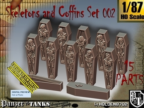 1/87 Skeleton+Coffins Set002 in Smooth Fine Detail Plastic