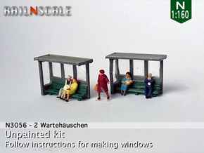 2 Waiting shelters (N 1:160) in Smooth Fine Detail Plastic