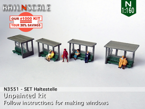 SET Waiting shelters (N 1:160) in Smooth Fine Detail Plastic