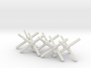 Hedgehog Barrier Ver01. O Scale (1:48) in White Natural Versatile Plastic