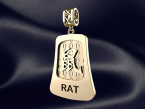 Chinese 12 animals pendant with bail - the rat in 14k Gold Plated Brass