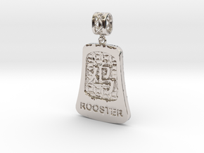 Chinese 12 animals pendant with bail - therooster in Rhodium Plated Brass