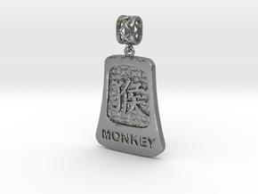 Chinese 12 animals pendant with bail - themonkey in Natural Silver (Interlocking Parts)