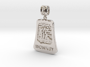 Chinese 12 animals pendant with bail - themonkey in Rhodium Plated Brass
