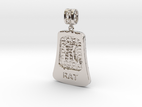Chinese 12 animals pendant with bail - the rat in Rhodium Plated Brass