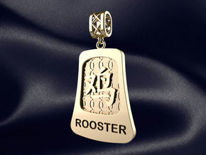 Chinese 12 animals pendant with bail - therooster in 14k Gold Plated Brass