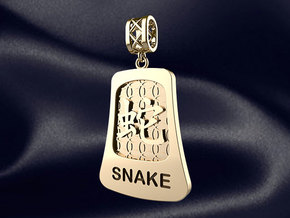 Chinese 12 animals pendant with bail - the snake in 14k Gold Plated Brass