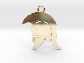 Spartan Warrior Helmet Pendant/Keychain in 14K Yellow Gold