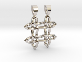 Hashtag celtic knot [pendant] in Rhodium Plated Brass
