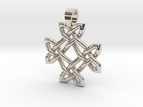 Crossing celtic knot [pendant] in Rhodium Plated Brass
