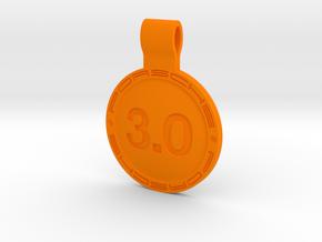 Key ring Porsche 3.0 liters in Orange Processed Versatile Plastic