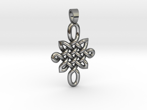 Double celtic knot [pendant] in Polished Silver