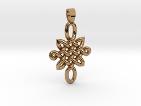 Double celtic knot [pendant] in Polished Brass
