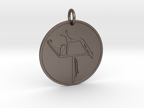 Large Wepwawet Medallion in Polished Bronzed Silver Steel