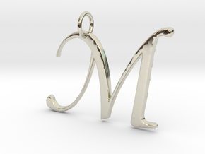 Elegant M in 14k White Gold