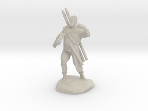Half-orc pirate with Hammer and Net in Sandstone