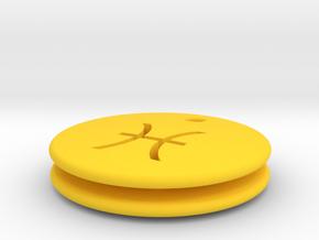 Pisces Symbol Earring in Yellow Processed Versatile Plastic