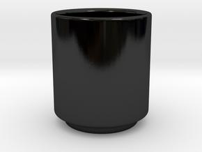 Handleless Mug in Gloss Black Porcelain