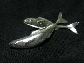 Fish Duo 1 in Raw Silver
