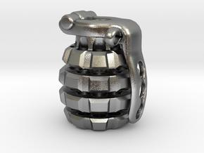 Toxic Bomb - tritium grenade bead in Natural Silver