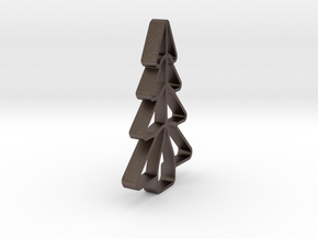 Christmas Tree Shape Cookie Cutter Stamp 1 in Polished Bronzed Silver Steel