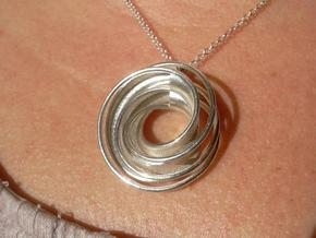 Twin Rail Mobius Pendant - small in Raw Silver