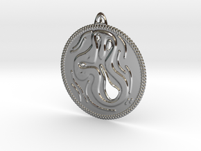 Life Pendant in Fine Detail Polished Silver