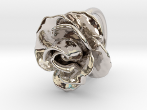 Blossoming Rose Ring in Rhodium Plated Brass: 3.5 / 45.25