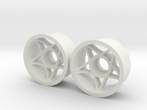 "2WD - Jantes avant ""FIVE"" in White Natural Versatile Plastic"